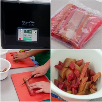 Poached rhubarb in the sous vide machine on eatlivetravelwrite.com
