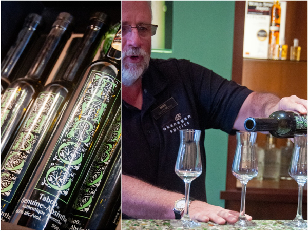 Tasting absinthe at Okanagan spirits on eatlivetravelwrite.com