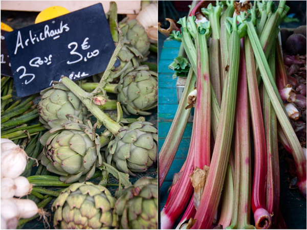 Artichokes and rhubarb at the Bayeux market on eatlivetravelwrite.com
