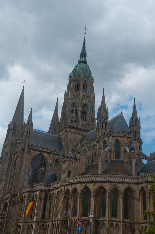 Bayeux cathedral and stormy sky on eatlivetravelwrite.com