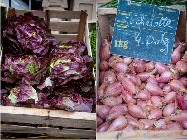 Lettuce and shallots at Bayeux market on eatlivetravelwrite.com