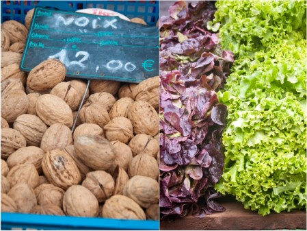 Walnuts and salad at the Bayeux Market on eatlivetravelwrite.com