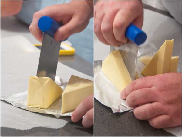 Cutting butter for puff pastry at La Cuisine Paris on eatlivetravelwrite.com