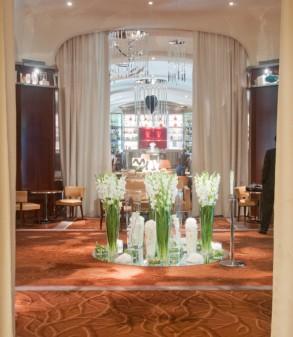 Flower arrangements in foyer of Le Royal Monceau Paris on eatlivetravelwrite.com