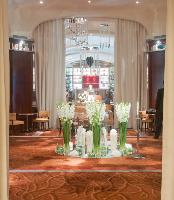 Flower arrangements in foyer of Le Royal Monceau Paris on eatlivetravelwrite.com