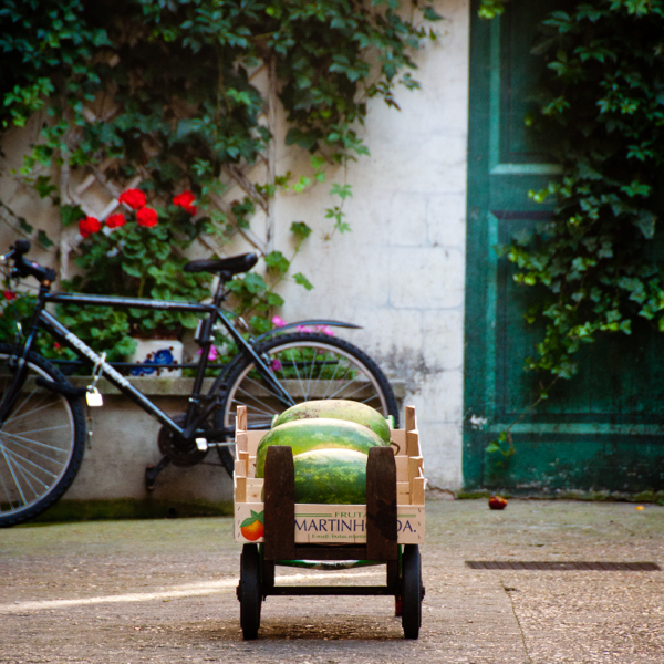 Watermelon in a wagon on Context Paris Aligre market tour on eatlivetravelwrite.com