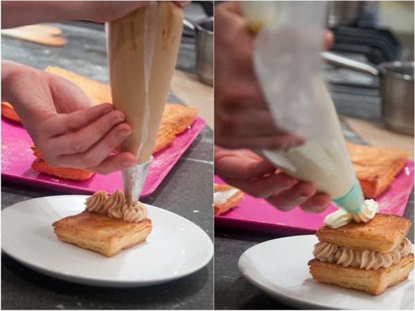 Filling a mille feuille at La Cuisine Paris on eatlivetravelwrite.com