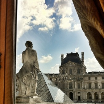 Looking out from insite the Louvre in Paris on THATLou on eatlivetravelwrite.com