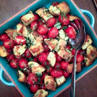 Jacques Pepin garlicky cherry tomato and bread gratin on eatlivetravelwrite.com