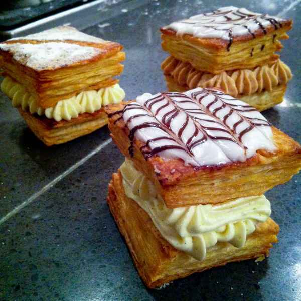 Finished decorated and filled mille feuille at La Cuisine Paris on eatlivetravelwrite.com