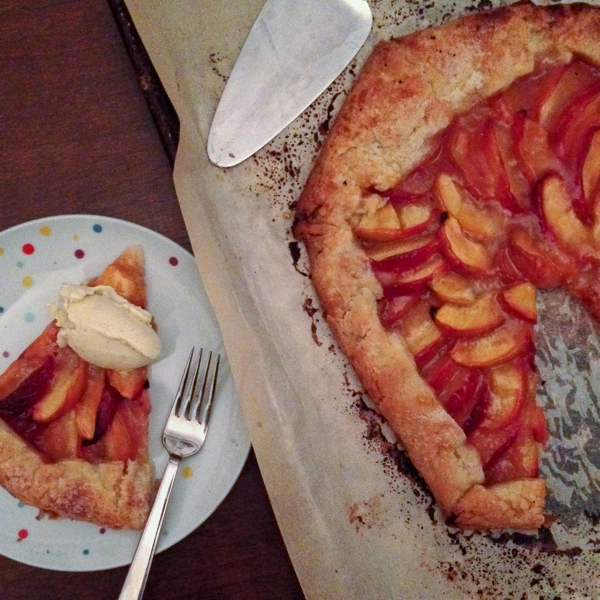 Jacques Pepin peach galette with vanilla ice cream on eatlivetravelwrite.com