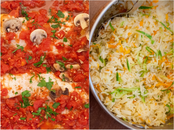 Baked Tilapia with mushrooms and tomatoes and confetti rice on eatlivetravelwrite.com