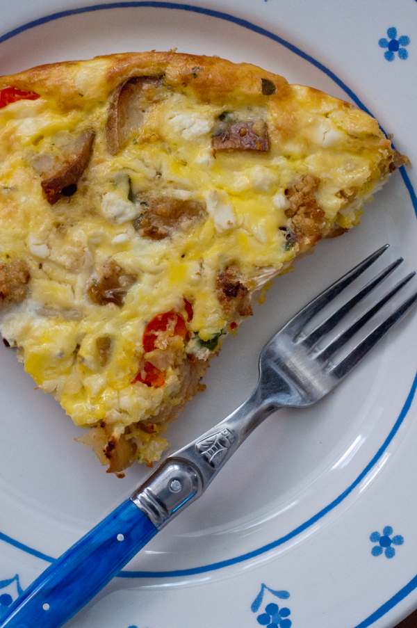 Potato cauliflower frittata on eatlivetravelwrite.com