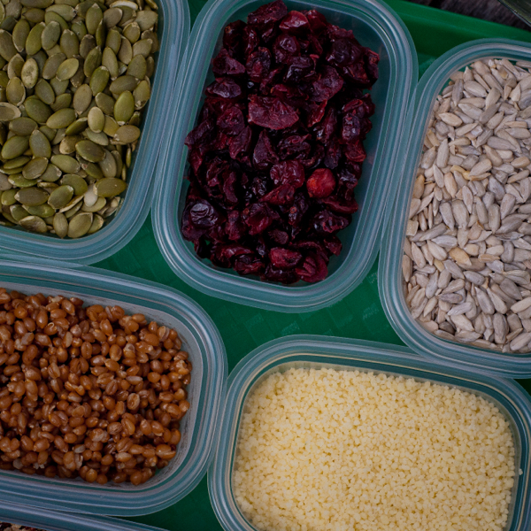 Pumpkin seeds, dried cranberries and sunflower seeds on eatlivetravelwrite.com