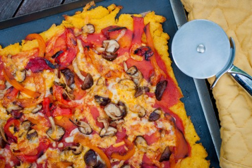 Polenta pizza with mushrooms and roasted red peppers on eatlivetravelwrite.com