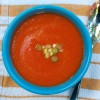 Roasted red pepper soup on eatlivetravelwrite.com