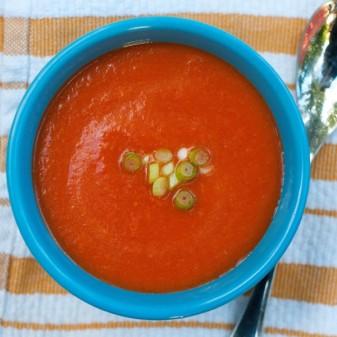 Roasted red pepper soup on eatlivetravelwrite.com