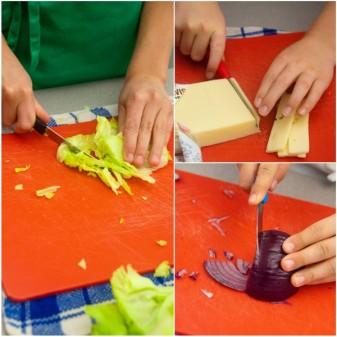 Kids chopping fixings for burgers on eatlivetravelwrite.com