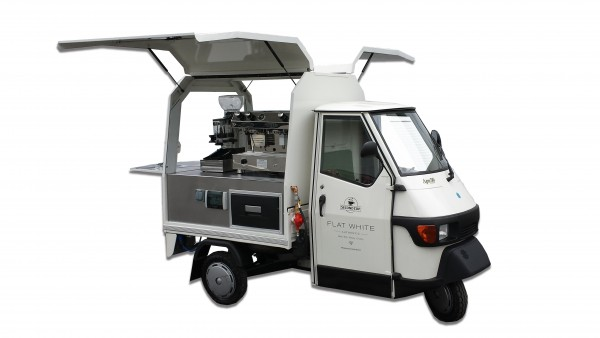 Second Cup Piaggio Flat White sampling truck