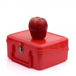 Red lunchbox and apple from Shutterstock
