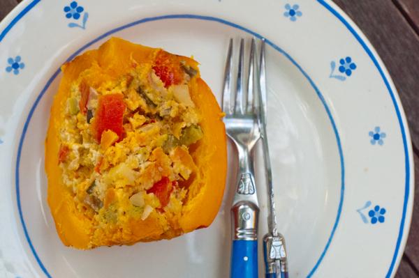 Vegetable stuffed kuri squash on eatlivetravelwrite.com