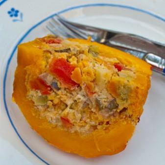 A slice of vegetable-stuffed baked kuri squash on eatlivetravelwrite.com