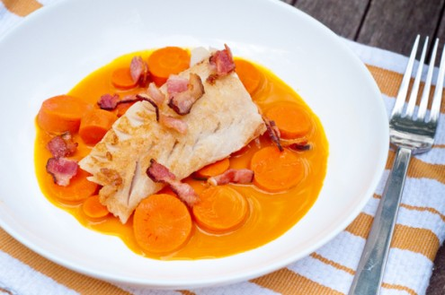 Dorie Greenspan monkfish and double carrots on eatlivetravelwrite.com