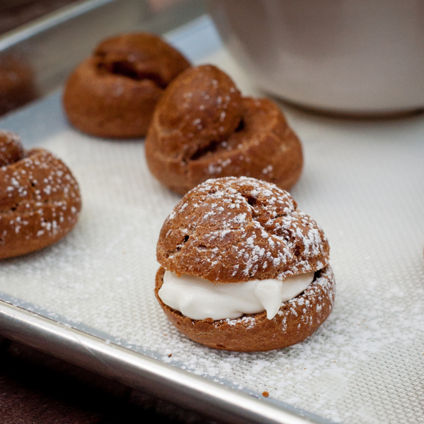 Chocolate cream puffs from Baking Chez Moi on eatlivetravelwrite.com