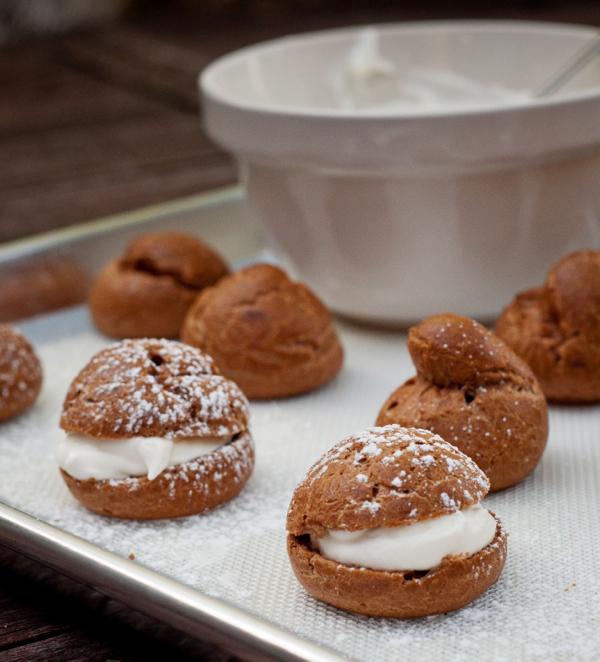 Mascarpone filled chocolate profiteroles from Baking Chez Moi on eatlivetravelwrite.com