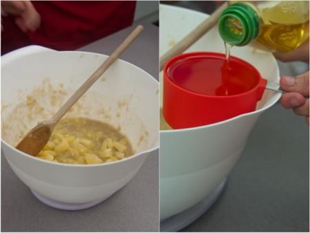 Kids measuring and mixing wet ingredients for Jamie Oliver Hummingbird cupcakes on eatlivetravelwrite.com