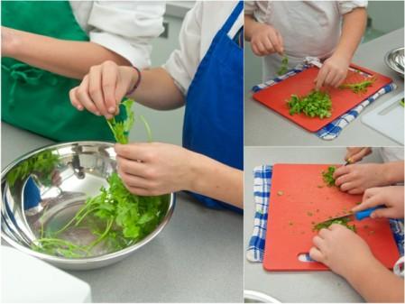 Kids working with cilantro on eatlivetravelwrite.com