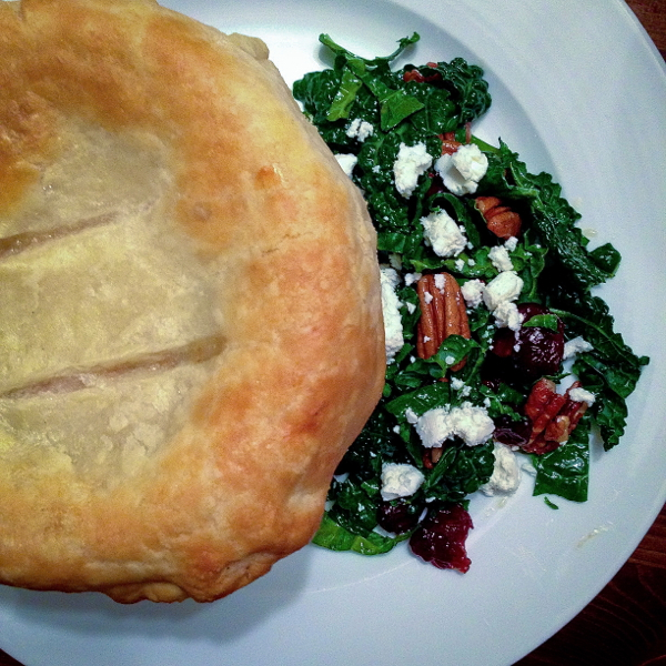 Smitten Kitchen White bean, Swiss chard and pancetta pot pies. Kale salad on eatlivetravelwrite.com
