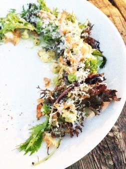 This roasted cauliflower salad features chicory, cauliflower crisps, grana padano, aji amarillo and dill at The Beverley Hotel in Toronto on eatlivetravelwrite.com
