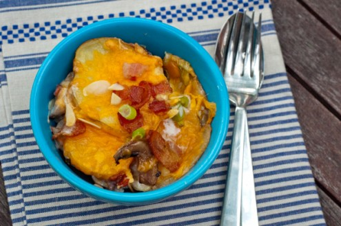 Individual serving of potato gratin on eatlivetraelwrite.com