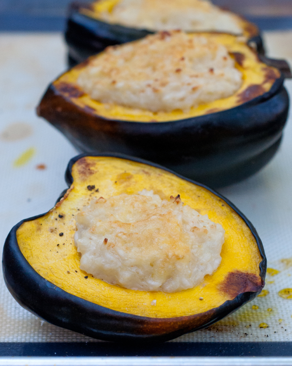 Risotto stuffed acord squash on eatlivetravelwrite.com