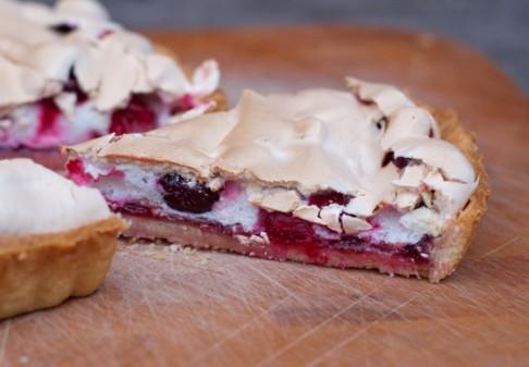 Slice of Dorie Greenspan cranberry crackle tart on eatlivetravelwrite.com