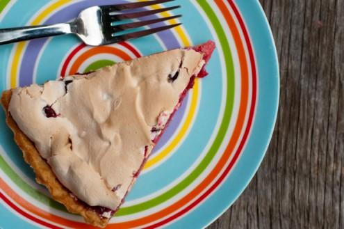 Plated Dorie Greenspan cranberry crackle tart on eatlivetravelwrite.com
