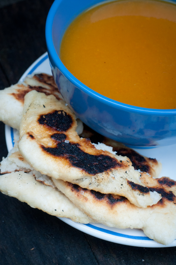 Curried pumpkin soup and naan on eatlivetravelwrite.com