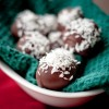Chocolate cream cheese cranberry coconut truffles on eatlivetravelwrite.com