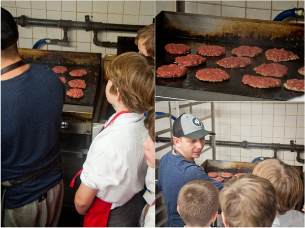 Matt Basile cooking burgers with kids on eatlivetravelwrite.com