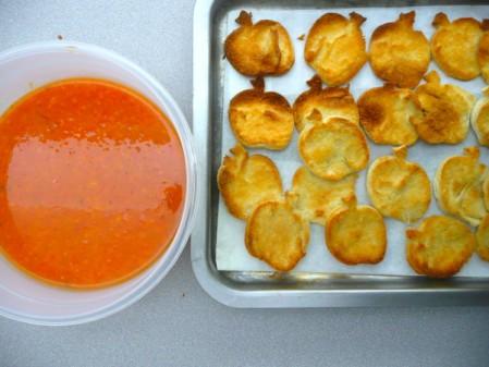 Tomato soup and pita chips on eatlivetravelwrite.com