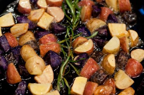 Pan frying potatoes on eatlivetravelwrite.com