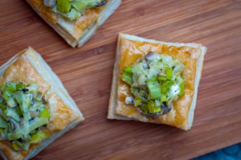 Puff pastry Vol au vents with creamy leek and mushroom filling on eatlivetravelwrite.com