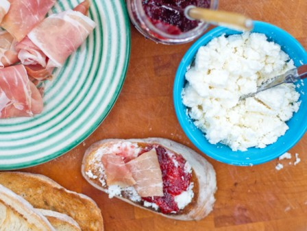 Prosciutto on toast with goat cheese and fig spread on eatlivetravelwrite.com