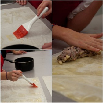 Kids making cranberry goat cheese strudel on eatlivetravelwrite.com