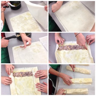 Kids working with phyllo pastry with Emily Richards on eatliveravelwrite.com