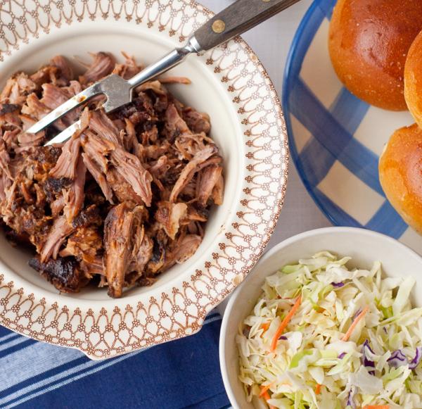 Pulled pork, slaw and buns on eatlivetravelwrite.com