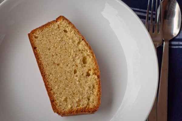 Slice of Brown Butter and Vanilla Bean Weekend Cake on eatlivetravelwrite.com