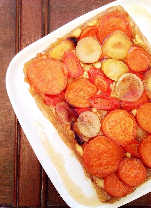 Donna Hay's glazed root vegetable Tarte Tatin on eatlivetravelwrite.com