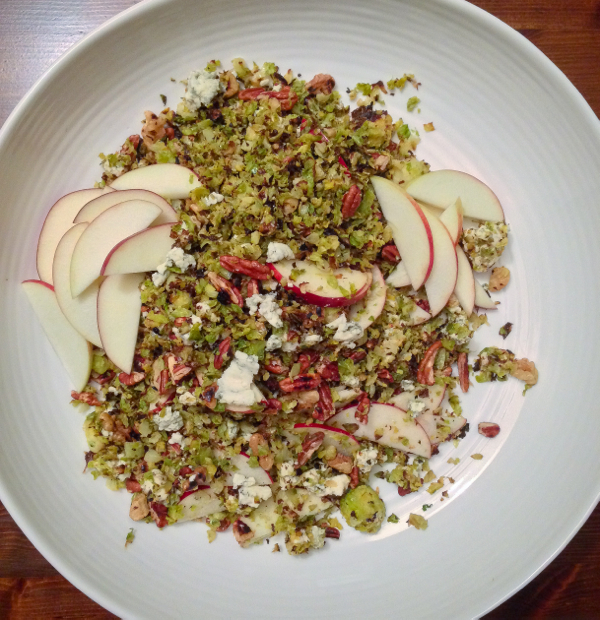 Charred Brussels sprout salad w/ walnuts, gorgonzola and apples from How to Cook Everything on eatlivetravelwrite.com